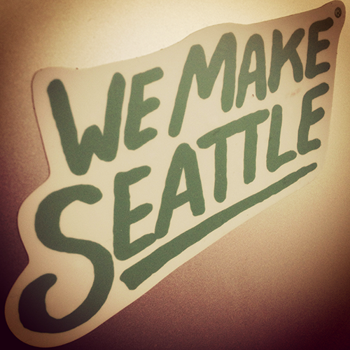 We Make Seattle sticker on laptop
